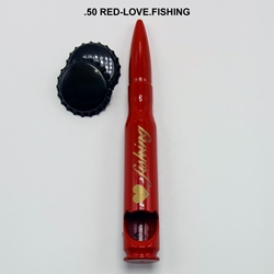 Love Fishing - Glossy Red Bullet Bottle Opener