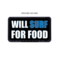 Will Surf for Food Hitch Cover Tow Hitch Cover, Hitch Cover, Receiver Hitch Cover, Receiver Cover, USA Hitch Covers, Tailgating, Bottle Olpener Hitch Cover